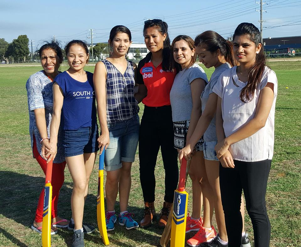 Rubina Chhetry with local Nepalese Cricket Players.